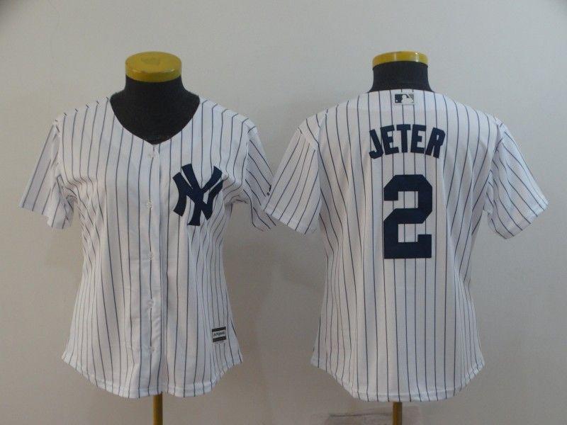 Women Mlb New York Yankees #2 Jeter White (black Stripe) Jersey