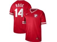 Mens Mlb Cincinnati Reds #14 Pete Rose Red Cooperstown Collection Legend V Neck Cool Base Nike Jersey