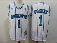 Mens Nba Charlotte Hornets #1 Muggsy Bogues White Mitchell&ness 1992-93 Hardwood Classics Swingman Jersey
