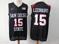 Mens Ncaa Nba San Diego State #15 Leonard Black With The Flag Jersey