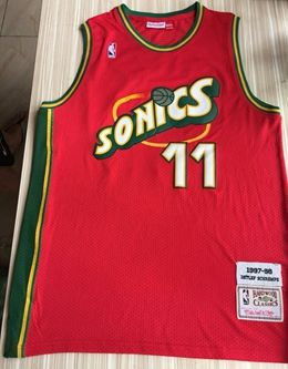 Mens Nba Seattle Supersonics #11 Detlef Schrempf Red Mitchell & Ness 1995-96 Hardwood Classics Jersey