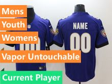 Mens Women Youth Nfl Baltimore Ravens Purple Vapor Untouchable Limited Current Player Jersey