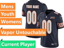 Mens Women Youth Nfl Chicago Bears Blue 100th Season Nike Current Player Vapor Untouchable Limited Jersey