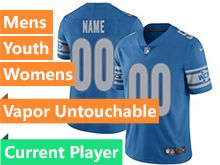 Mens Women Youth Nfl Detroit Lions Blue Vapor Untouchable Limited Current Player Jersey