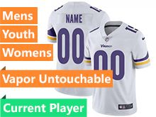 Mens Women Youth Nfl Minnesota Vikings White Vapor Untouchable Limited Current Player Jersey