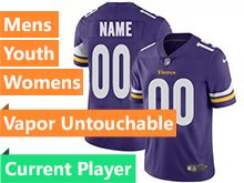Mens Women Youth Nfl Minnesota Vikings Purple Vapor Untouchable Limited Current Player Jersey