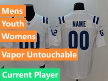 Mens Women Youth Nfl Indianapolis Colts White Vapor Untouchable Limited Current Player Jersey