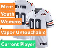 Mens Women Youth Nfl Chicago Bears White 100th Season Nike Current Player Vapor Untouchable Limited Jersey