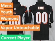 Mens Women Youth Nfl Cincinnati Bengals Black Vapor Untouchable Limited Current Player Jersey