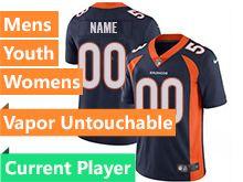 Mens Women Youth Nfl Denver Broncos Blue Current Player Vapor Untouchable Limited Jersey