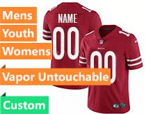 Mens Women Youth Nfl San Francisco 49ers (custom Made) Red Vapor Untouchable Limited Jersey