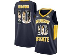 Mens Ncaa Nba Murray State Racers #10 Tevin Brown Blue Nike Printed Fashion Jersey