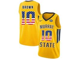 Mens Ncaa Nba Murray State Racers #10 Tevin Brown Gold Nike Printed Usa Flag Jersey