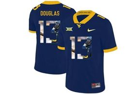 Mens Ncaa West Virginia University #13 Rasul Douglas Blue Printed Fashion Nike Vapor Untouchable Limited Jersey