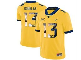 Mens Ncaa West Virginia University #13 Rasul Douglas Yellow Printed Fashion Nike Vapor Untouchable Limited Jersey