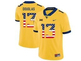 Mens Ncaa West Virginia University #13 Rasul Douglas Yellow Printed Usa Flag Nike Vapor Untouchable Limited Jersey