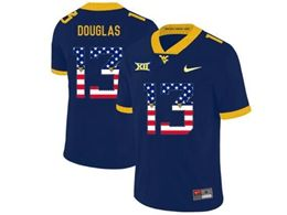 Mens Ncaa West Virginia University #13 Rasul Douglas Blue Printed Usa Flag Nike Vapor Untouchable Limited Jersey