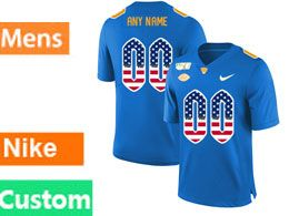 Mens Nacc Nfl Pittsburgh Panthers Custom Made Blue Printed Usa Flag Nike Vapor Untouchable Limited Jersey