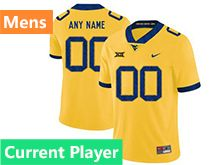 Mens Ncaa West Virginia University Current Player Yellow Nike Vapor Untouchable Limited Jersey