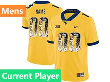 Mens Ncaa West Virginia University Current Player Yellow Printed Fashion Nike Vapor Untouchable Limited Jersey