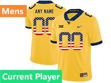 Mens Ncaa West Virginia University Current Player Yellow Printed Usa Flag Nike Vapor Untouchable Limited Jersey
