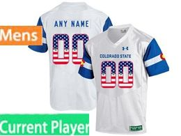 Mens Ncaa Colorado State Rams Current Player White Printed Usa Flag Under Armour State Pride Football Jersey