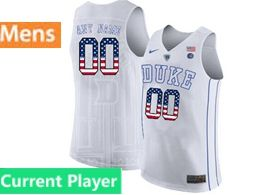 Mens Ncaa Nba Duke Blue Devils Current Player White Printed Usa Flag Nike Jersey