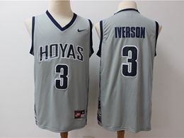 Mens Ncaa Nfl Georgetown Hoyas #3 Iverson Gray Nike Jersey