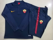 Mens 19-20 Soccer As Roma Club Blue Training And Blue Sweat Pants Training Suit ( Half Zipper )