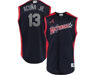 Mens 2019 Mlb All Star Game Atlanta Braves #13 Acuna Jr Blue Sleeveless Cool Base Jersey