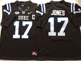 Mens Ncaa Nfl Duke Blue Devils #17 Jones College Black Limited Jersey