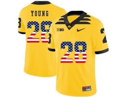 Mens 2019 New Ncaa Nfl Iowa Hawkeyes #28 Toren Young Yellow Printed Usa Flag Jersey