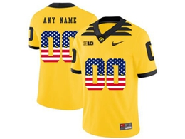 Mens 2019 New Ncaa Nfl Iowa Hawkeyes Current Player Yellow Printed Usa Flag Game Jersey
