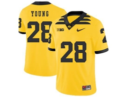 Mens 2019 New Ncaa Nfl Iowa Hawkeyes #28 Toren Young Yellow Game Jersey