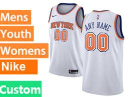 Mens Women Youth Nba New York Knicks Custom Made White Swingman Nike Jersey