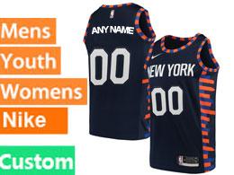 Mens Women Youth Nba New York Knicks Custom Made Blue Dark Blue City Edition Nike Swingman Jersey