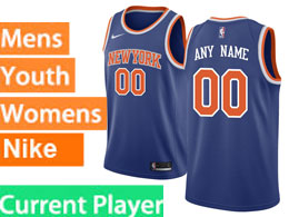 Mens Women Youth Nba New York Knicks Current Player Blue Nike Swingman Jersey