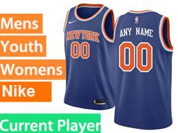 Mens Women Youth Nba New York Knicks Current Player Blue Nike Swingman Jersey
