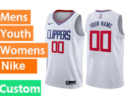 Mens Nba Nike Los Angeles Clippers Custom Made White Swingman Jersey