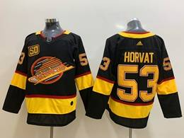 Mens Nhl Vancouver Canucks #53 Bo Horvat Black Adidas 50th Jersey