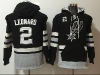 Mens Nba San Antonio Spurs #2 Kawhi Leonard Black With Pocket Hoodie Jersey