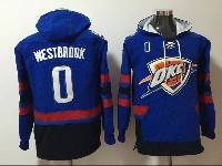 Mens Nba Oklahoma City Thunder #0 Russell Westbrook Blue With Black Pocket Hoodie Jersey