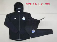 Mens 19-20 Soccer Fc Porto Club Black Wind Coat And Black Sweat Pants Training Suit ( Zipper )