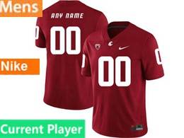 Mens Ncaa Washington State Cougars Current Player Red Jersey