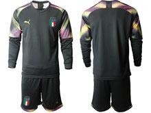 Mens Kids Soccer Italy National Team Custom Made Black 2020 European Cup Goalkeeper Long Sleeve Suit Jersey
