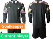 Mens Kids Soccer Italy National Team Current Player Black Green Pink 4 Colors  2020 European Cup Goalkeeper Long Sleeve Suit Jersey