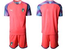 Mens Kids Soccer Italy National Team Custom Made Black Green Pink 4 Colors  2020 European Cup Goalkeeper Short Sleeve Suit Jersey
