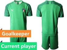 Mens Soccer Italy National Team Current Player Light Green 2020 European Cup Goalkeeper Short Sleeve Suit Jersey