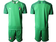 Mens Soccer Italy National Team ( Custom Made ) Light Green 2020 European Cup Goalkeeper Short Sleeve Suit Jersey