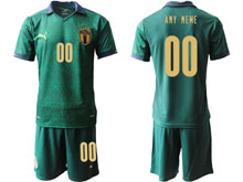 Mens Soccer Italy National Team ( Custom Made ) Green 2020 European Cup Second Away Short Sleeve Suit Jersey